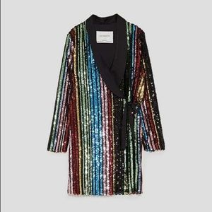 Mulitcolored sequin wrap dress